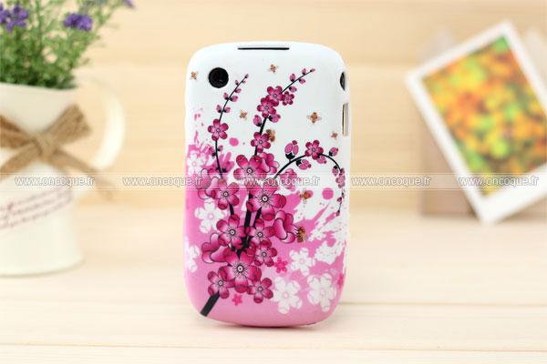 Coque blackberry curve 8520 fleurs silicone housse gel rose for Housse pour blackberry curve
