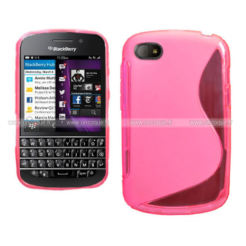 Coque blackberry q10 s line silicone gel housse rose chaud for Housse blackberry q10