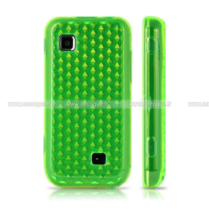 Coque samsung s5750 wave 575 diamant tpu gel housse verte for Housse samsung wave