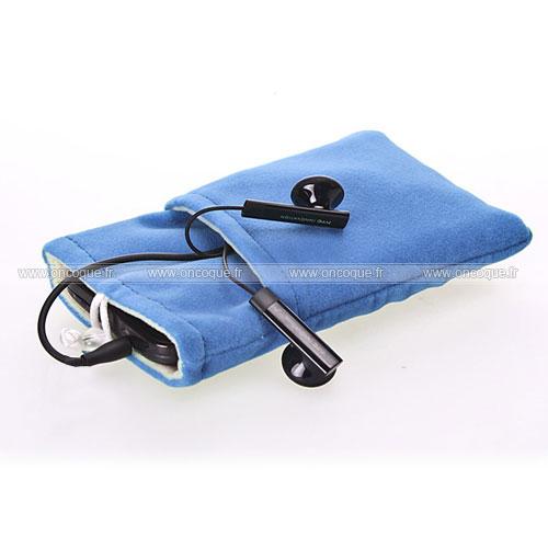 Coque samsung s5750 wave 575 housse pochette tissu bleu for Housse samsung wave