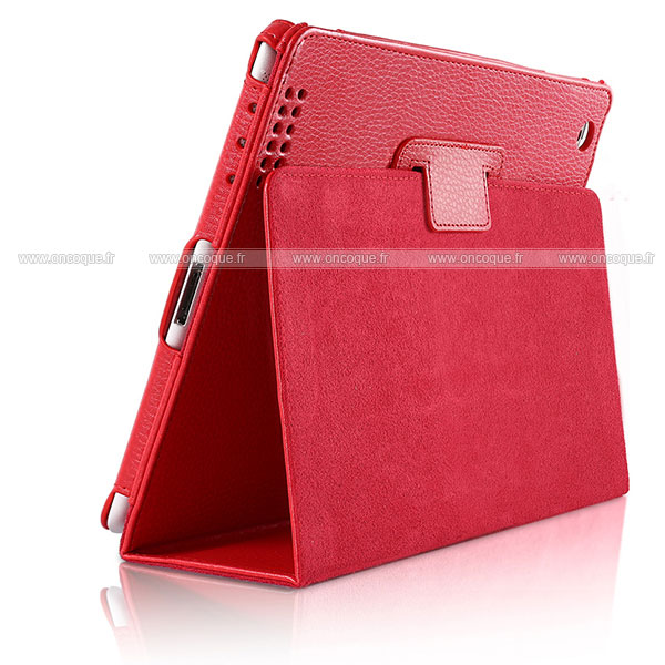 Etui en cuir apple ipad 2 housse rouge for Housse cuir ipad