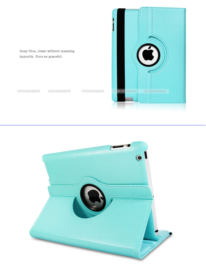 etui en cuir apple ipad 4 housse cover bleue ciel On housse ipad 4