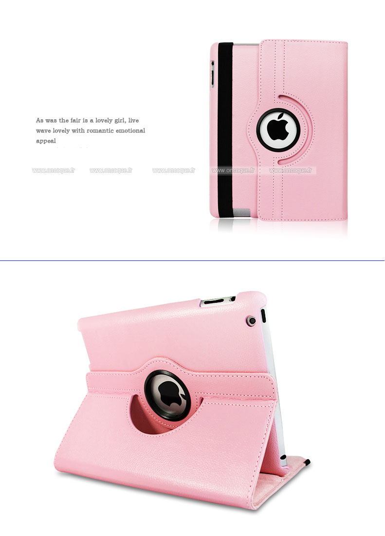 Etui en cuir apple ipad 4 housse cover rose for Housse protection ipad