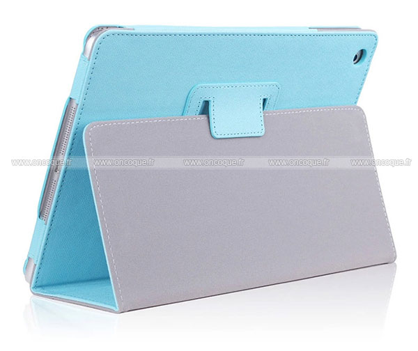 etui en cuir apple air 2 housse cover bleue ciel