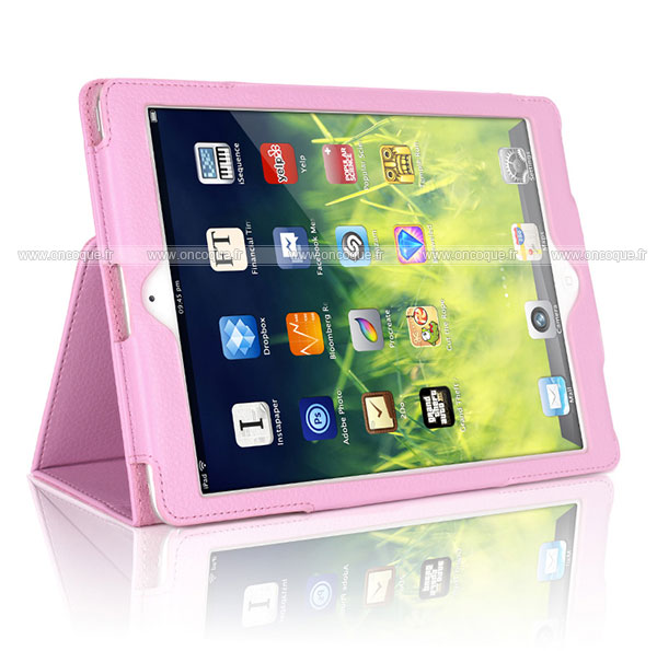Etui en cuir apple ipad air 2 housse cover rose for Housse neoprene ipad air