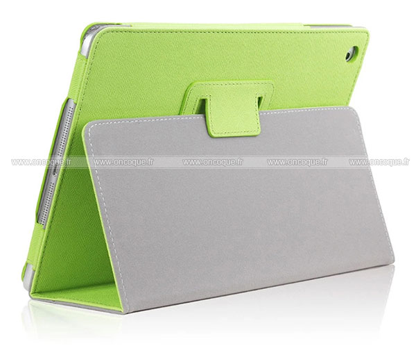 Etui en cuir apple ipad air 2 housse cover verte for Housse neoprene ipad air