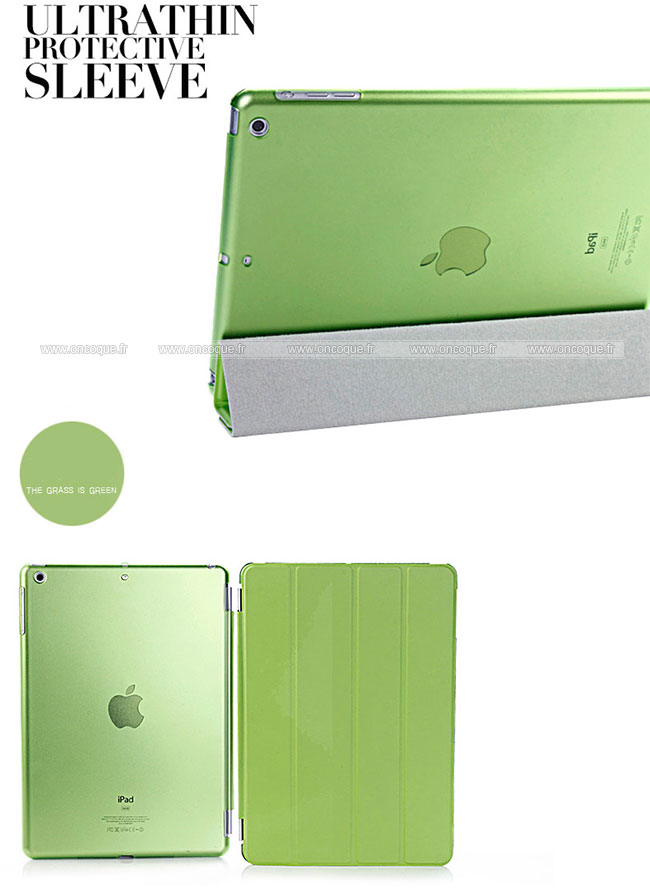 Etui en cuir apple ipad air housse verte for Housse neoprene ipad air
