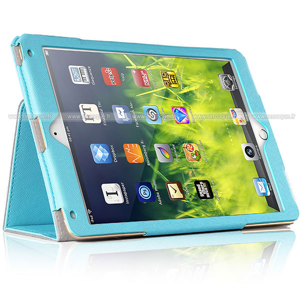 Etui en cuir apple ipad air support porte housse bleu for Housse neoprene ipad air