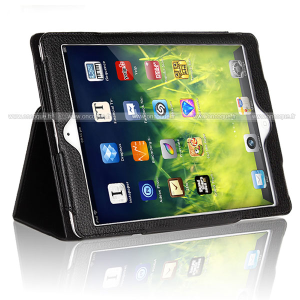 Etui en cuir apple ipad air support porte housse noire for Housse neoprene ipad air