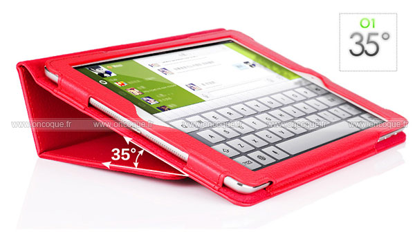 Etui en cuir apple ipad air support porte housse rouge for Housse neoprene ipad air