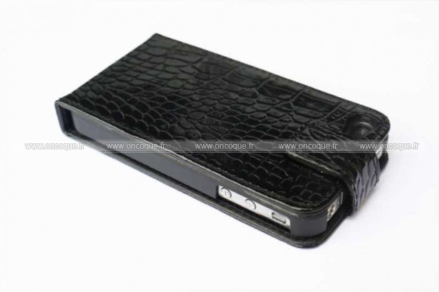 Etui en cuir apple iphone 4 crocodile housse cover noire for Housse cuir iphone 4