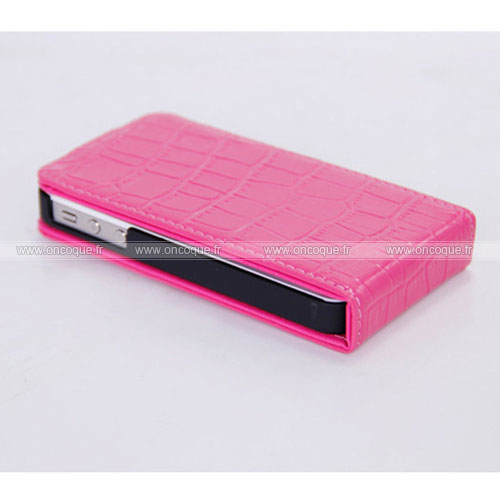 Etui en cuir apple iphone 4 crocodile housse cover rose for Housse cuir iphone 4