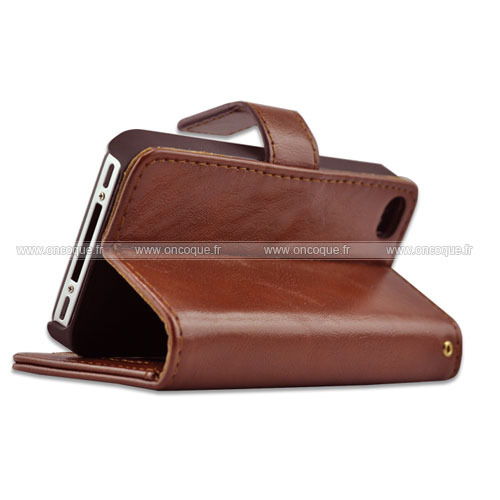Etui en cuir apple iphone 4 housse coque brown for Housse cuir iphone 4