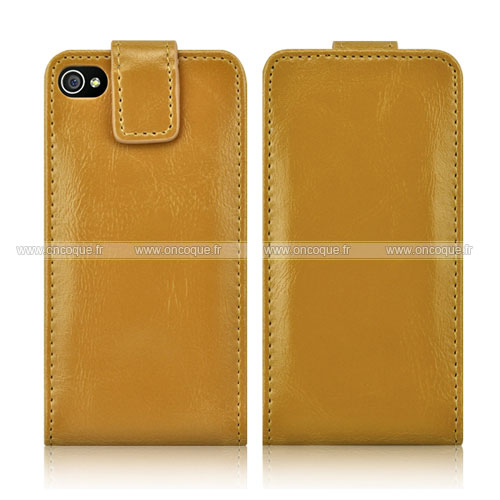 etui en cuir apple iphone 4 housse coque jaune
