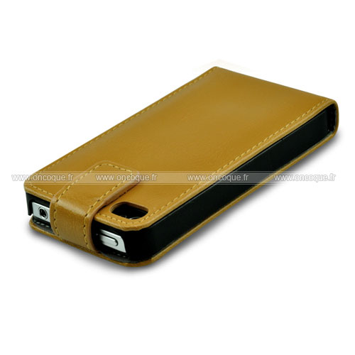 Etui en cuir apple iphone 4 housse coque jaune for Housse iphone 4 cuir