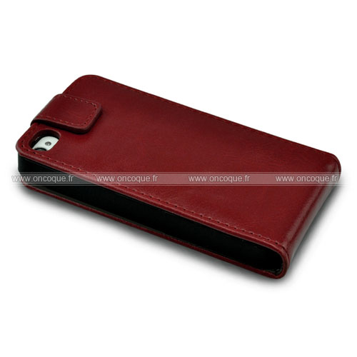 Etui en cuir apple iphone 4 housse coque rouge for Housse iphone 4 cuir