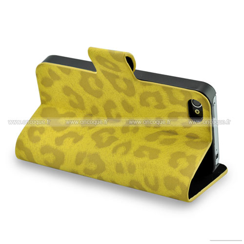 Etui en cuir apple iphone 4 leopard housse cover jaune for Housse cuir iphone 4