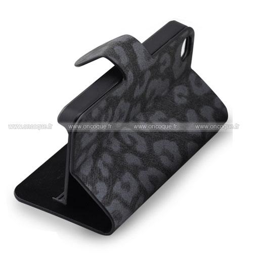 Etui en cuir apple iphone 4 leopard housse cover noire for Housse cuir iphone 4