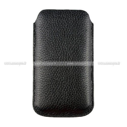 Etui en cuir apple iphone 4s housse pochette noire for Housse cuir iphone 4
