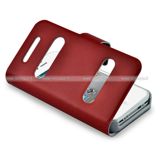 etui en cuir apple iphone 4s housse trou