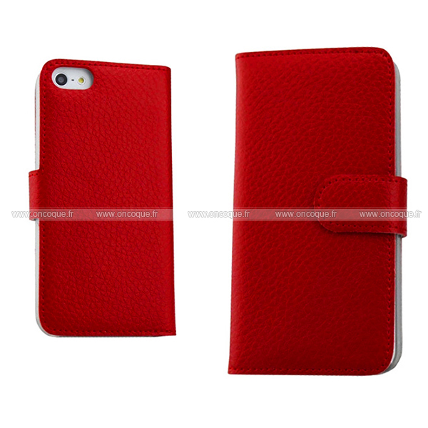 etui en cuir apple iphone 5 housse grid rouge