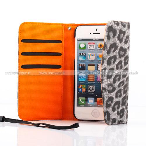 etui en cuir apple iphone 5 leopard housse gris