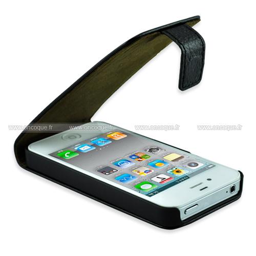 etui en cuir apple iphone 5s housse coque grid noire. Black Bedroom Furniture Sets. Home Design Ideas