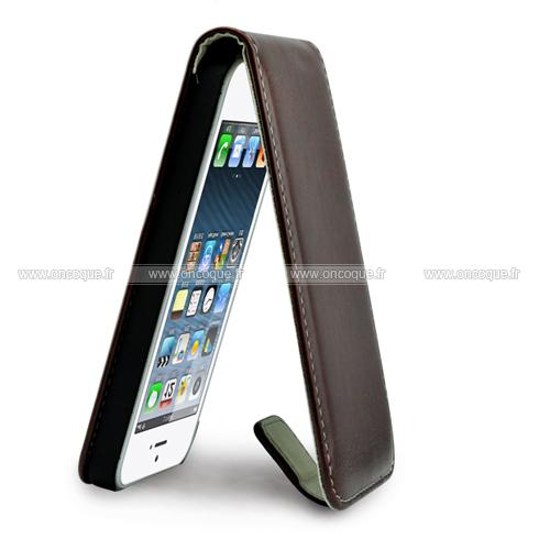 etui en cuir apple iphone 5s lisse housse coque brown. Black Bedroom Furniture Sets. Home Design Ideas