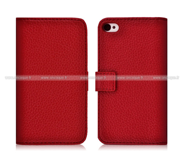 etui en cuir housse apple iphone 4 coque