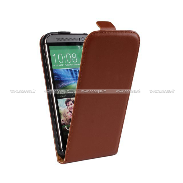 etui en cuir htc one m8 housse brown