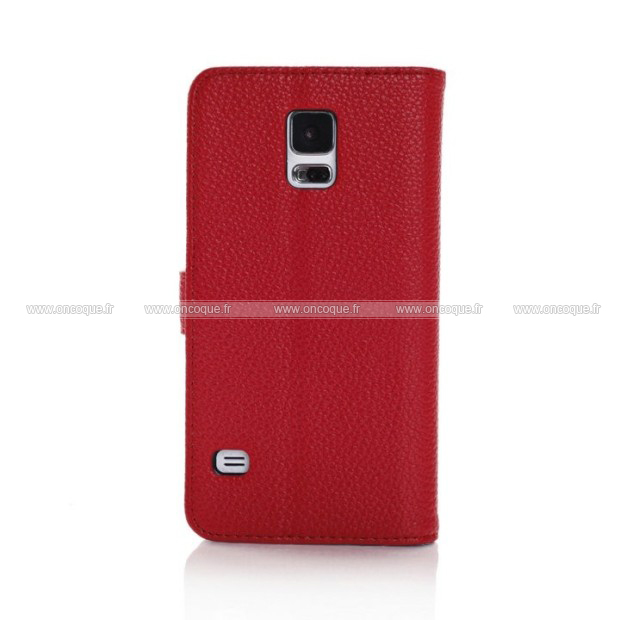 Etui en cuir samsung galaxy s5 i9600 support porte housse for Housse samsung s5