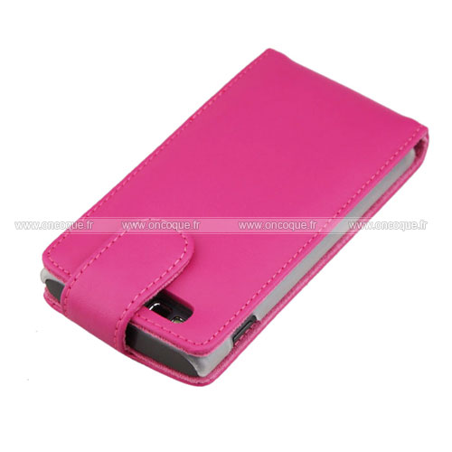 Etui en cuir samsung s8600 wave 3 housse rose chaud for Housse samsung wave