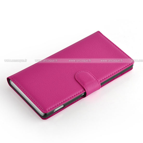 Etui en cuir sony xperia z3 housse rose chaud for Housse xperia z3