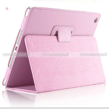 Etui en cuir apple ipad air support porte housse rose for Housse neoprene ipad air