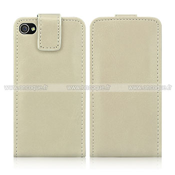 Etui en cuir apple iphone 4 housse coque blanche for Housse cuir iphone 4