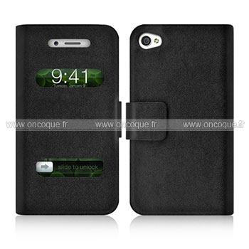 Etui en cuir apple iphone 4 housse trou noire for Housse cuir iphone 4