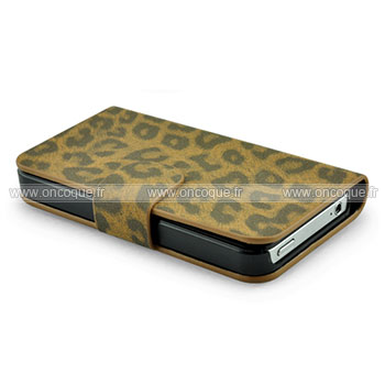 Etui en cuir apple iphone 4 leopard housse cover brown for Housse cuir iphone 4