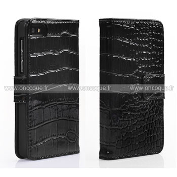 Etui en cuir blackberry z10 crocodile housse cover noire for Housse blackberry curve