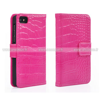 Etui en cuir blackberry z10 crocodile housse cover rose for Housse blackberry curve