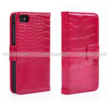 Etui en cuir blackberry z10 crocodile housse cover rouge for Housse blackberry