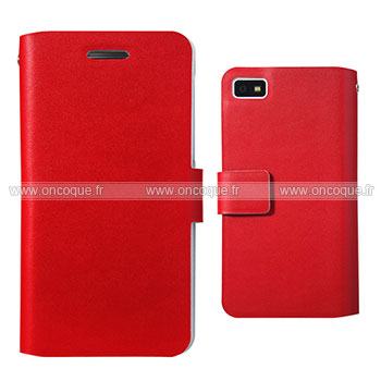 Etui en cuir blackberry z10 housse cover rouge for Housse blackberry curve