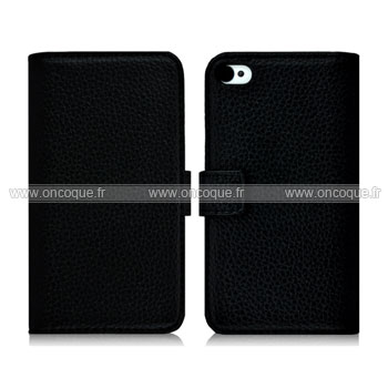 Etui en cuir housse apple iphone 4s coque noire for Housse cuir iphone 4