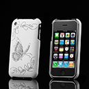 Coque Apple iPhone 3G Papillon Plastique Etui Rigide - Blanche