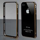 Coque Apple iPhone 4S Cadre Metal Plated Etui Rigide - Noire