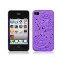 Coque Apple iPhone 4S Fleurs Plastique Etui Rigide - Pourpre