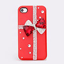 Coque Apple iPhone 4S Luxe Bowknot Diamant Bling Etui - Rouge