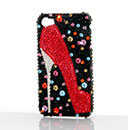 Coque Apple iPhone 4S Luxe Diamant Bling Chaussures Etui - Rouge