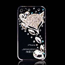Coque Apple iPhone 4S Luxe Diamant Bling Fox Etui - Blanche