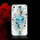 Coque Apple iPhone 4S Luxe Fleurs Diamant Bling Etui Rigide - Bleu