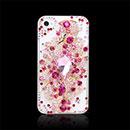 Coque Apple iPhone 4S Luxe Fleurs Diamant Bling Etui Rigide - Rose Chaud